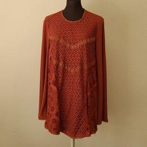 NWT Suzanne Betro Orange Lace Overlay Tunic Large